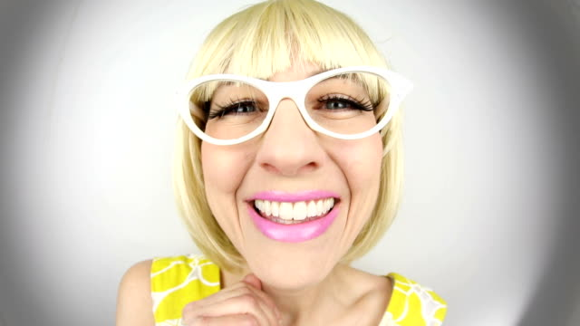 friendly fisheye 60's housewife - cat's eye glasses stock videos and b-roll footage