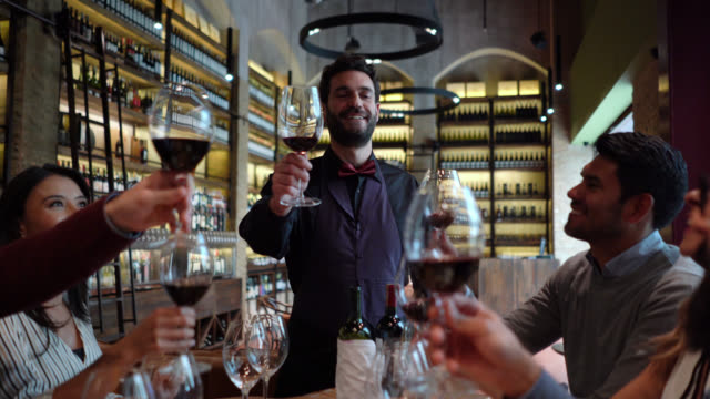 friendly sommelier proposing a toast during a wine tasting with a group of people - wine bar stock videos & royalty-free footage