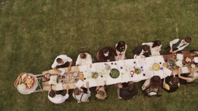 Friends and family toasting at an outdoor dinner party