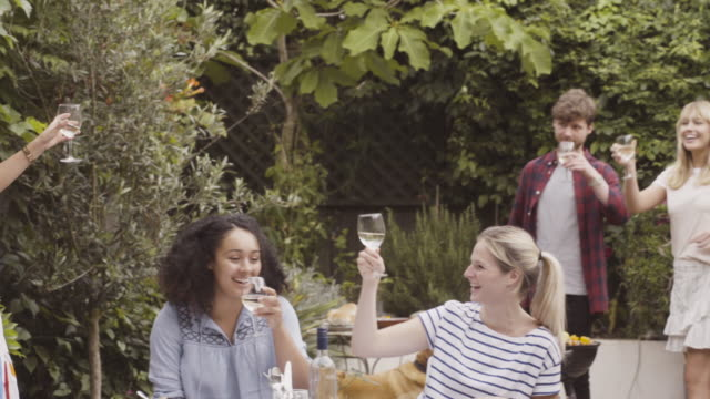 Friends are toasting with wineglasses in urban garden.