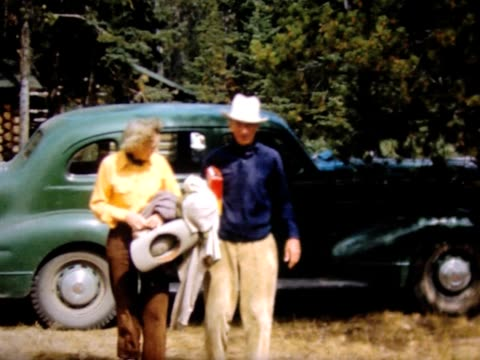 1950 friends arrive in green car - wyoming ranch stock videos & royalty-free footage