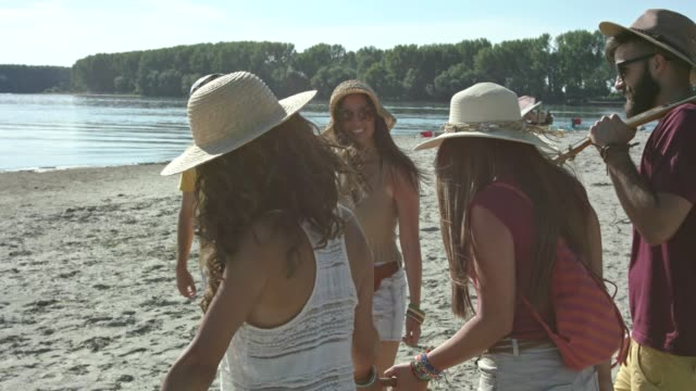 friends arriving at the beach - picnic basket stock videos and b-roll footage