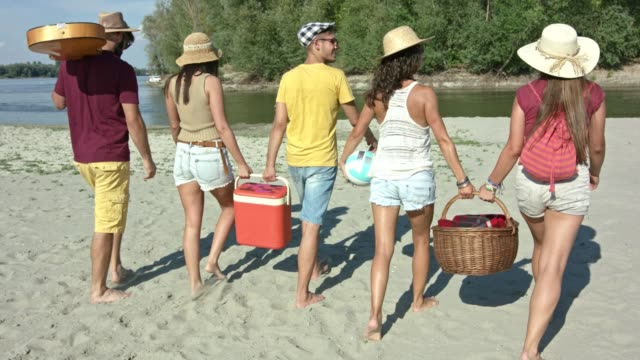 vídeos de stock e filmes b-roll de friends arriving at the beach - picnic