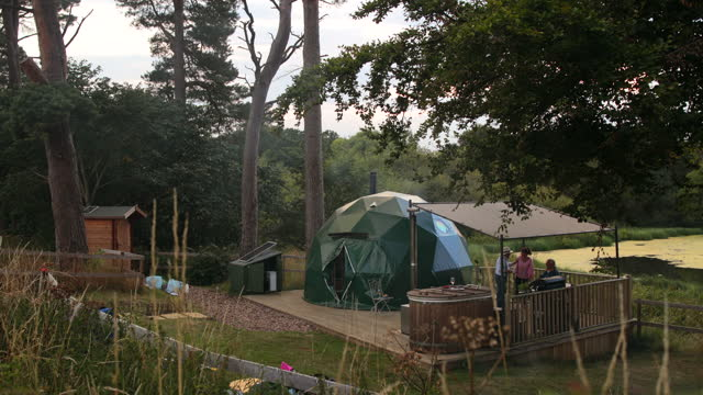 friends at a glamping site - sport venue stock videos & royalty-free footage