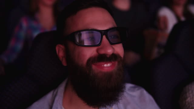 Friends at cinema on 3D projection