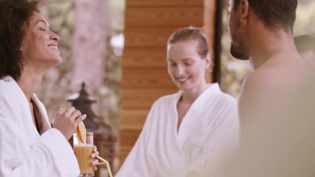 friends at spa - bathrobe stock videos & royalty-free footage