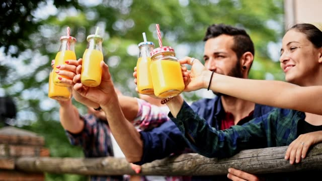friends cheering orange juices outdoors togetherness - orange juice stock videos & royalty-free footage