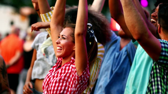 friends dancing at a concert. - entertainment event stock videos and b-roll footage