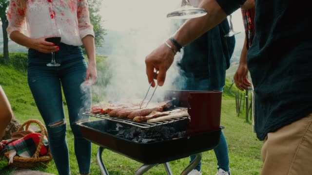Friends doing a bbq in the countryside together