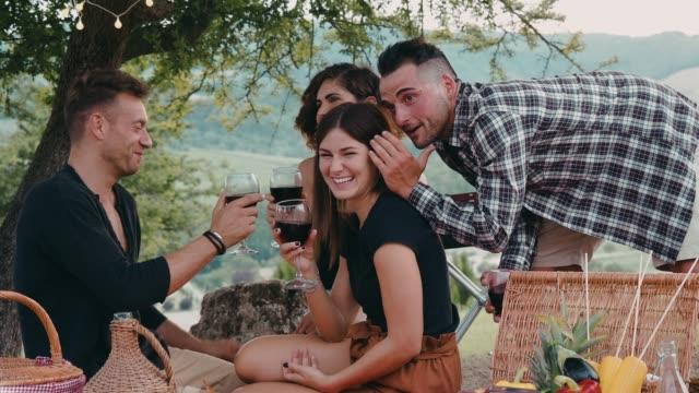 vidéos et rushes de amis, faire un pique-nique ensemble au coucher du soleil dans la campagne - confidence