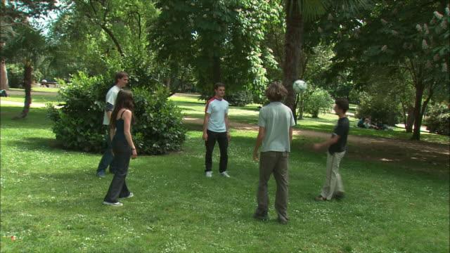 WS Friends doing keep-ups in Retiro Park, Madrid, Spain