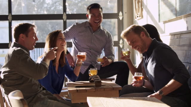 friends drinking beer and laughing at brewhouse - brauerei stock-videos und b-roll-filmmaterial