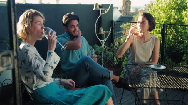 vídeos de stock e filmes b-roll de friends drinking wine - três pessoas