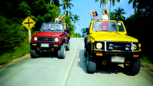 friends driving 4x4 cars down the road - 4x4 stock videos & royalty-free footage