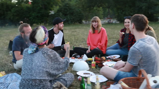friends eating a good meal in the park - public park stock videos & royalty-free footage