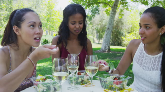 friends eating together at caf_ - durevolezza video stock e b–roll