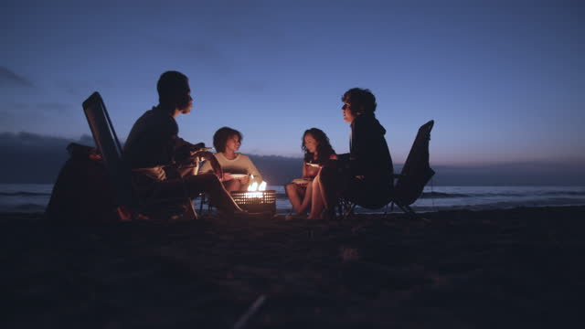 friends enjoying a campfire on the beach at night - friendship stock videos & royalty-free footage