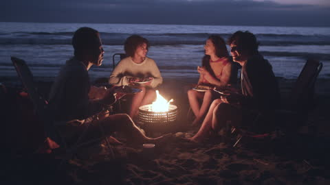 vídeos y material grabado en eventos de stock de friends enjoying a campfire on the beach at night - cuatro personas