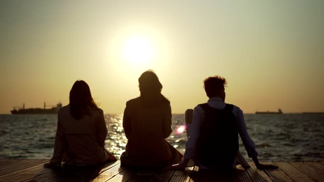 Friends enjoying sunset over the sea
