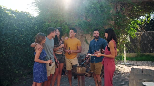 friends gathered around barbecue at outdoor party - enjoyment stock videos & royalty-free footage