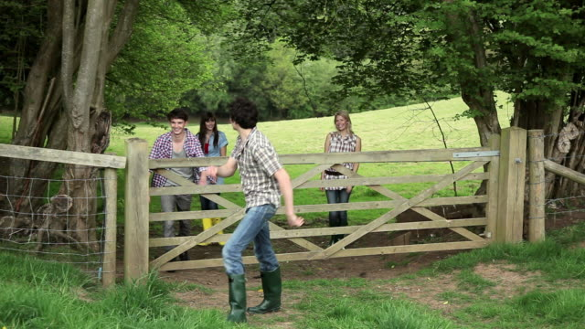 friends going through gate in the countryside - guildford stock videos & royalty-free footage