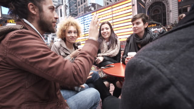 4K - Friends Group Gathering in Time Square New York