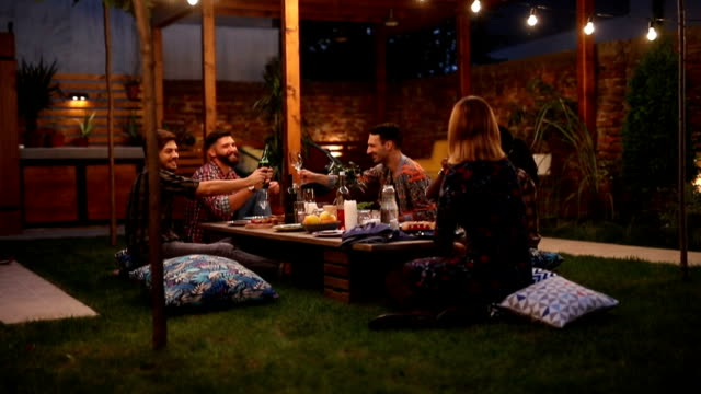 friends having barbecue party - front or back yard stock videos & royalty-free footage
