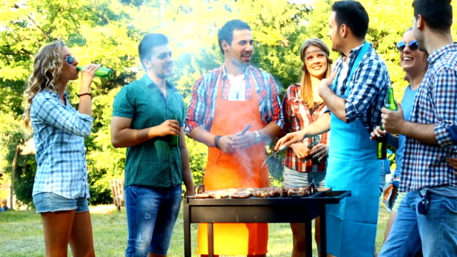 friends having barbecue party. - patio stock videos & royalty-free footage