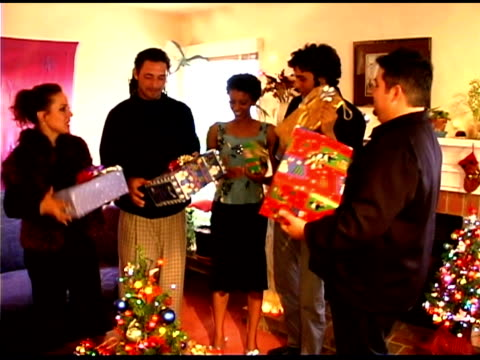friends having christmas party - see other clips from this shoot 1407 stock videos and b-roll footage