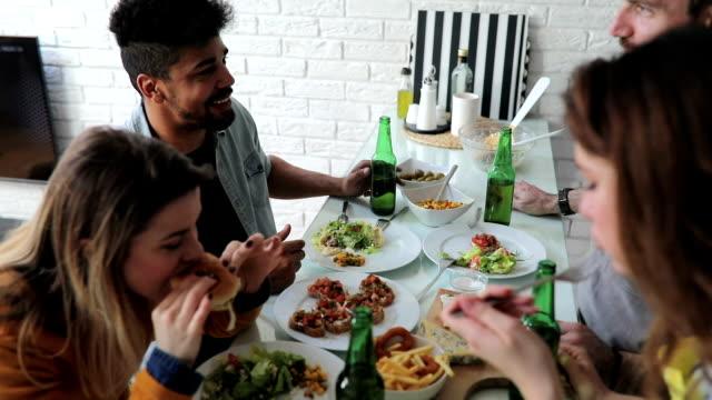 friends having dinner - brunch stock videos & royalty-free footage