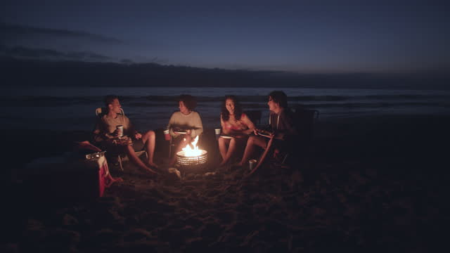 friends having fun around a campfire at night - camping stock videos & royalty-free footage