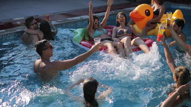friends having fun at the pool - swimming pool stock videos & royalty-free footage
