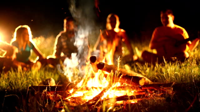 friends having fun by campfire. - camp fire stock videos & royalty-free footage