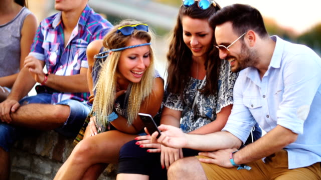 friends having fun in the street. - side by side stock videos & royalty-free footage