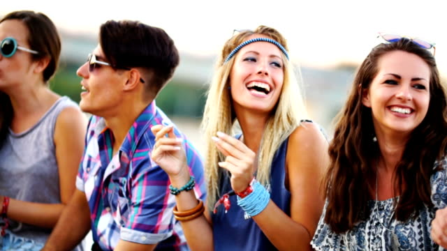 friends having fun in the street - party social event stock videos & royalty-free footage