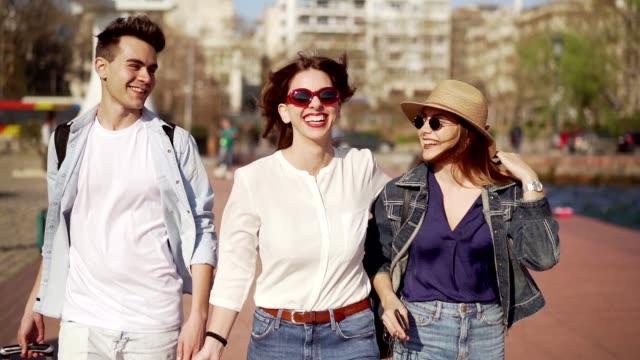friends having fun on their journey - punto di vista frontale video stock e b–roll