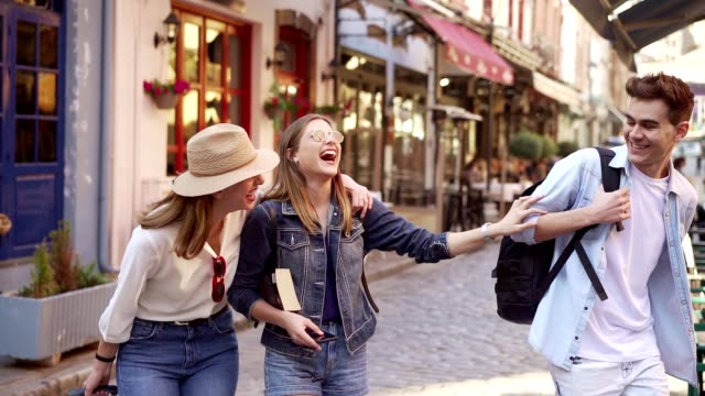 friends having fun on their journey - greece stock videos & royalty-free footage