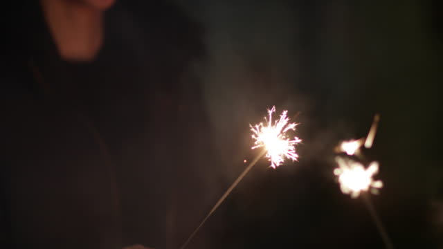 Friends having fun with sparklers