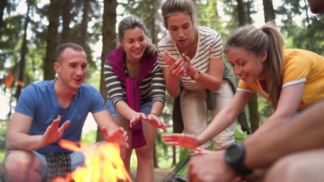 friends heating hands around campfire - 20 24 years stock videos & royalty-free footage