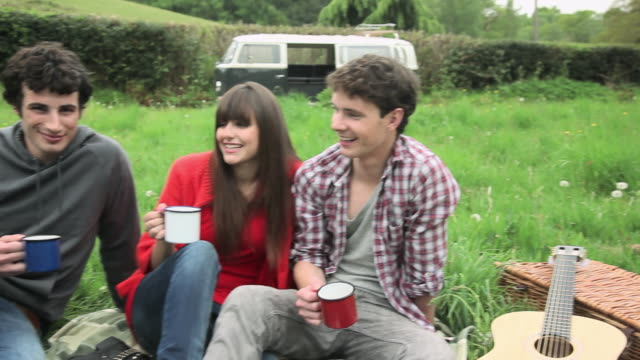 vídeos de stock e filmes b-roll de friends in a field toasting with cups and drinking - 20 24 anos