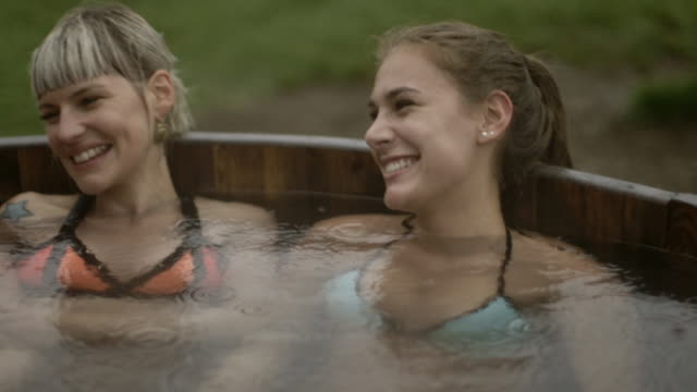 Friends in a hot tub