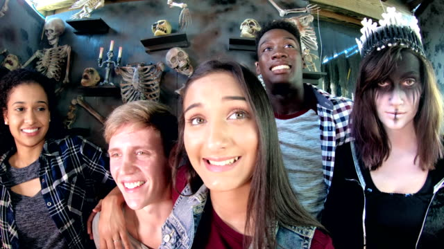 friends in halloween haunted house, bones, evil princess - human skeleton stock videos & royalty-free footage