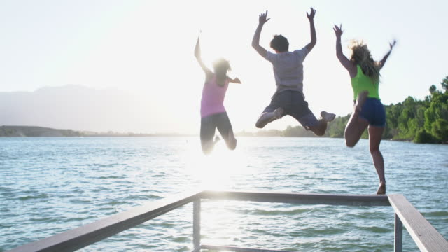 ws friends jumping off the pier into a lake - jetty stock videos & royalty-free footage