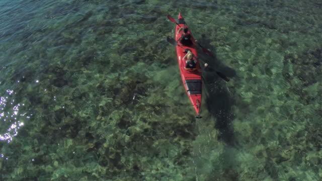 Friends kayaking, aerial view