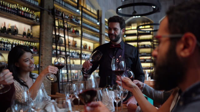 friends learning about wine during a wine tasting following friendly sommelier - wine bar stock videos & royalty-free footage