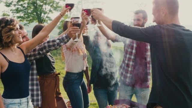 freunde machen einen toast beim grillen - film filmtechnik stock-videos und b-roll-filmmaterial