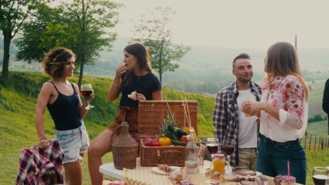 Friends making an aperitif during a barbecue