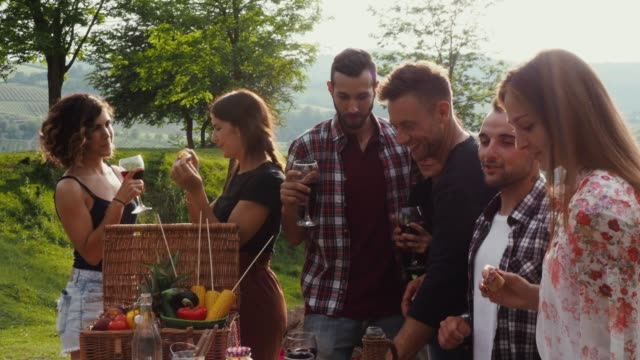 friends making an aperitif during a barbecue - aperitif stock videos & royalty-free footage