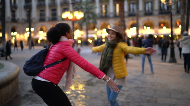 friends meeting at placa reial,barcelona - romantic activity stock videos & royalty-free footage