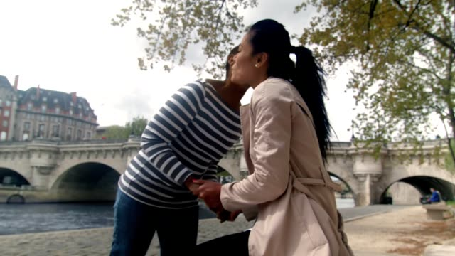 hd: friends meeting by the river in paris - greeting stock videos & royalty-free footage